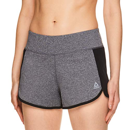 Reebok Women's Athletic Workout Shorts - Gym Training & Running Short - 3 Inch Inseam - Mara Charcoal Heather, X-Small