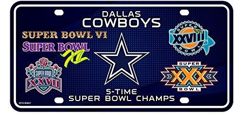 (Dallas Cowboys 5X Super Bowl Champions Aluminum License Plate Tag Football)