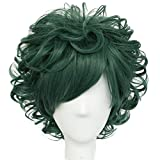 Anogol Free Hair Cap+Green Wig for Hero Cospaly Wig Short Wavy Wig for Men Synthetic Wigs