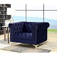 Iconic Home FCC2607-AN Gold Navy Bea Velvet with Nail head Trim Tone Metal Club Chair