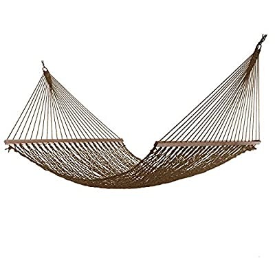Project One Large 12FT Rope Hammock, Quick Dry Rope Hammock with Double Size Solid Wood Spreader Bar Outdoor Patio Yard Poolside Hammock, 2 Person 450 Pound Capacity (Brown) - Spacious Sizing - Ring to Ring 141 Inches X Width 59 Inches X Bed Length 78 Inches Comfort - our polyester rope is the softest rope in the industry, its 8mm thick and 3 ply twisted for the perfect amount of flex. Skilled artisans hand weave the bed in close, even and balanced loops making this the most comfortable rope hammock on the market today. Durability - Made from heavy duty UV-resistant polyester Rope, cords will never rot mold or mildew. The spreader bars are wood with multiple coats of marine varnish. Steel rings are zinc plate. This all adds up to years of worry free use. - patio-furniture, patio, hammocks - 51RtIV7j6zL. SS400  -