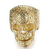 Acero inoxidable anillos de calavera para hombre Mujer clásico gótico anillos, Dorado, 8