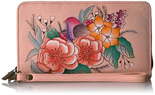 Vintage 1 Garden (Anna by Anuschka Hand Painted Leather Women's Organizer / Clutch / Wristlet | Vintage Garden)