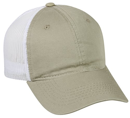 Outdoor Cap Garment Washed Meshback Cap, Khaki/White, One Size