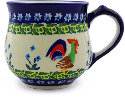 Polish Pottery Bubble Mug 9 oz (Country Rooster Theme) Signature UNIKAT