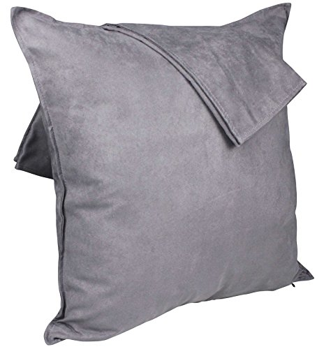 2-Pack Cushion Covers New Design Solid Color Comfortable Faux Suede Decorative Throw Pillow Covers 18 x 18 inches Pillowcases for Sofa Couch Living Room Decor, Gray -