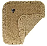 BESSIE AND BARNIE Camel Rose (Ruffles) Luxury Ultra Plush Faux Fur Pet, Dog, Cat, Puppy Super Soft Reversible Blanket (Multiple Sizes)