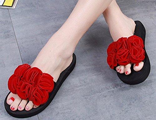 Bettyhome Mujeres Dama Niñas Sexy Bohemia Tangas Cómodas Cuñas Casuales Sandalias Beach Chanclas Zapatillas Rojo