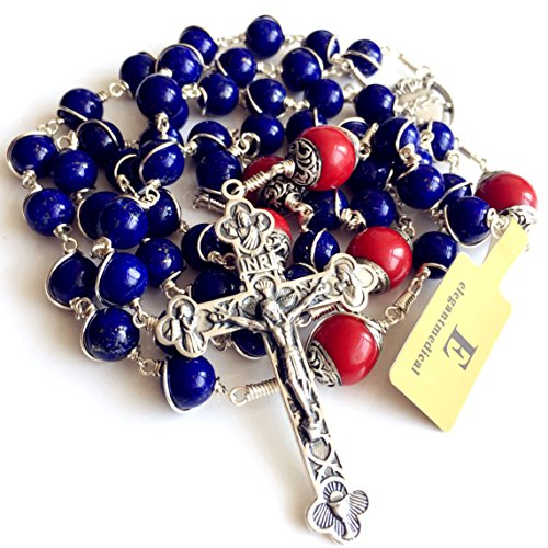 Handmade Sterling 925 Silver Lapis Lazuli Beads Rosary Cross Crucifix Catholic Necklace Gifts by elegantmedical (Image #8)