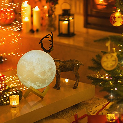 Magicfly Moon Lamp 5.9 Inch 3D Printing Moon Light, Dimmable with Tap Control, Rechargeable Lunar Light Home Decorative Night Light for Valentine's Day