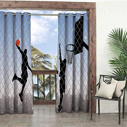 Linhomedecor Garden Waterproof Curtains Boys Room Basketball in The Street Theme Two Players on Grungy Damaged Backdrop Pale Blue Grey Black pergola Grommet Party Curtain 108 by 108 inch