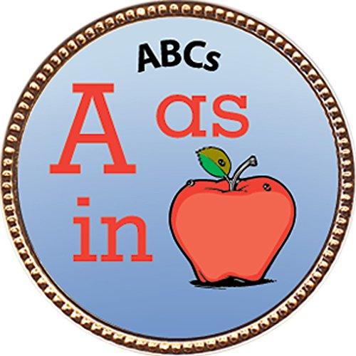 Gold Badge Awards - ABCs Award, 1 inch dia Gold Pin