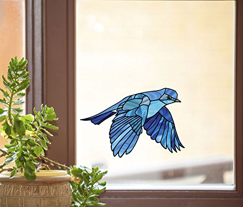 - Bird - Bluebird in Flight - Stained Glass Style See-Through Vinyl Window Decal - Copyright 2015 Yadda-Yadda Design Co. (Variations Available) (MD 5.75