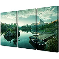 DecorArts- Italy, Dolomites - a bluish green world, (Triptych). Giclee Print on Canvas wall art for Home Decor. 48x32""