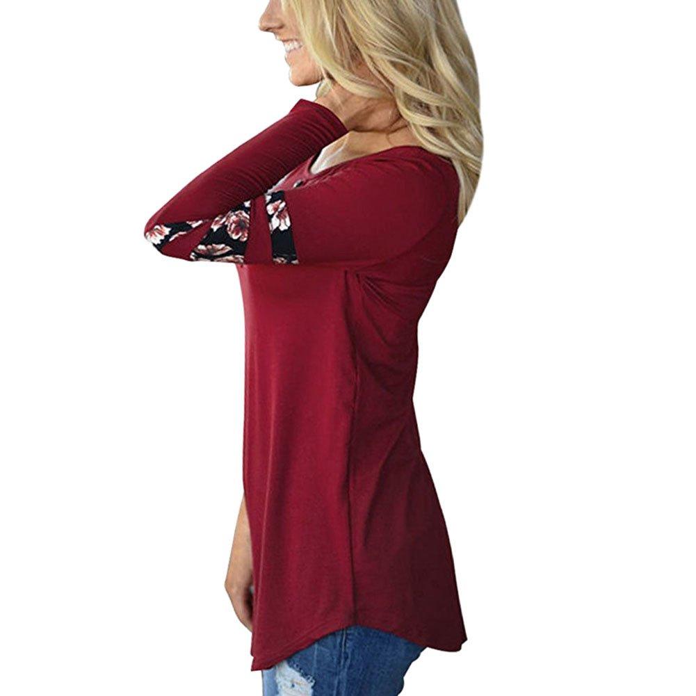LAEMILIA T-Shirt Femme Automne Hiver Manches Longues Imprim/ée Florale Blouse Tops Hauts Shirts Casual Originale