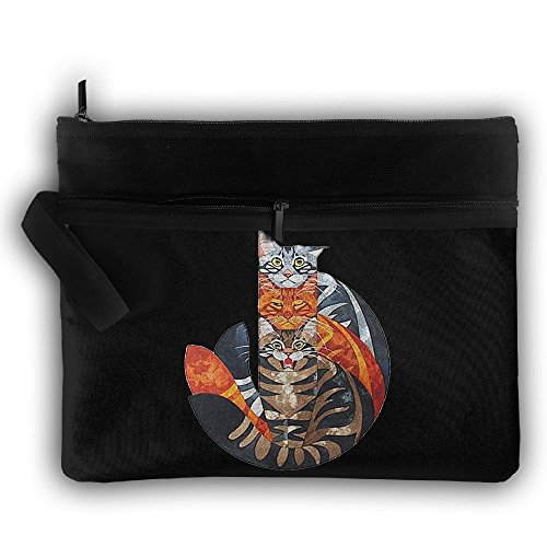 Three Colorful Cat Cute Trip Toiletry Bag Travel Receive Bag Toiletry Jewelry Bag