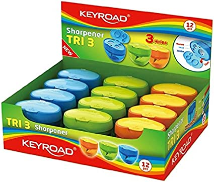 Keyroad KR971431 - Pack de 12 sacapuntas con depósito: Amazon.es: Oficina y papelería