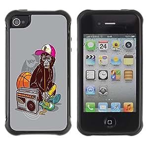 LASTONE PHONE CASE / Suave Silicona Caso Carcasa de Caucho Funda para Apple Iphone 4 / 4S / Funny Swag Monkey Ape