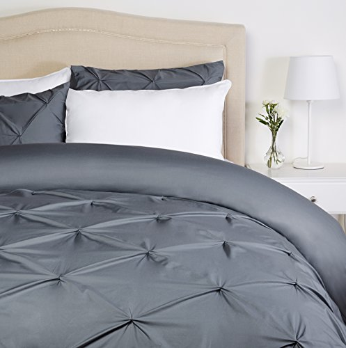 Pinzon Pinch-Pleat Duvet Cover Set - King, Pewter