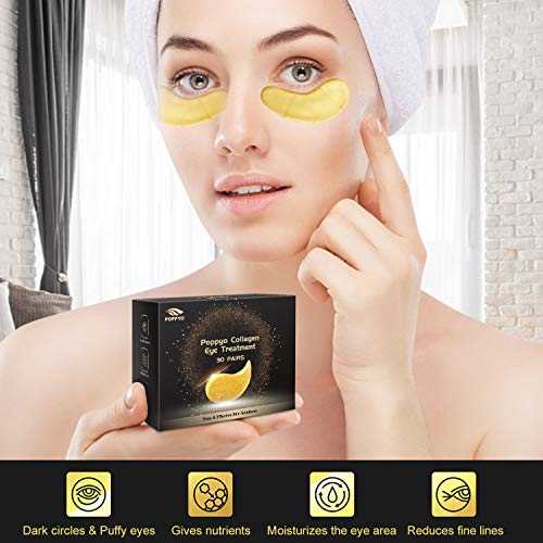 51RtKe iEUL - Under Eye Patches, POPPYO 24K Gold Eye Treatment Mask, Collagen Eye Mask, with Anti-aging and Wrinkle Care Properties, Reducing Dark Circles Puffiness Undereye Bags(30 Pairs)