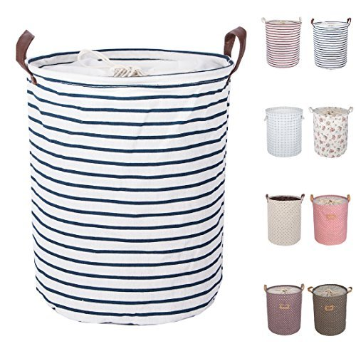 DOKEHOM DKA0814BL 17.7' Large Laundry Basket (Available 17.7' and 19.7'), Drawstring Waterproof Round Cotton Linen Collapsible Storage Basket (Blue Strips, M)
