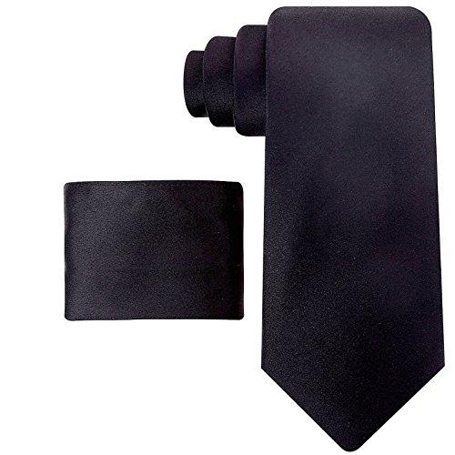 Ties Necktie Logo Silk (Solid Ties for Men - Silk Necktie + Pocket Square - Mens Ties Neck Tie - Black)