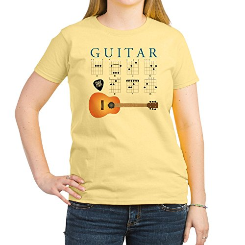 CafePress - Guitar 7 Chords T-Shirt - Womens Cotton T-Shirt, Crew Neck, Comfortable & Soft Classic Tee Light Yellow