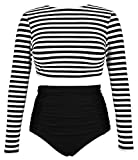 COCOSHIP Black & White Striped Women's Multi-Purpose Long Sleeve Swim Shirt Rash Guard Top Tankinis High Waist Bathing Swimsuit 10
