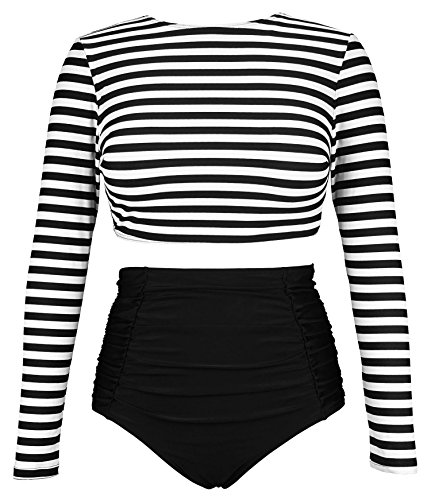 COCOSHIP Black & White Striped Women's Multi-Purpose Long Sleeve Swim Shirt Rash Guard Top Tankinis High Waist Bathing Swimsuit - 2 Piece Bustier