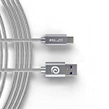 Elzo USB Type C Cable 6ft/180cm USB3.0 Fast Charging Quick Charge High Speed Data Transfer Nylon Braided Metal Housing Cable For LG G5/V20, Nexus 5X/6P, OnePlus 2/3, MacBook, ChromeBook Pixel, Nokia N1 Tablet, HTC Other Type-C Devices, Gray