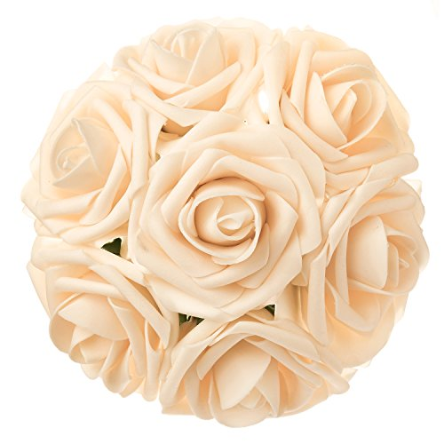 Make Baby Bunch Bouquet (Ling's moment Artificial Flowers Cream Roses 50pcs Real Looking Fake Roses w/Stem for DIY Wedding Bouquets Centerpieces Arrangements Party Baby Shower Home Decorations)
