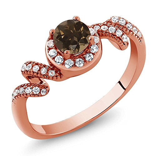 0.85 Ct Round Brown Smoky Quartz 18K Rose Gold Plated Silver Twist Ring ()
