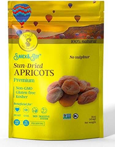 AZNUT Dried Turkish Dark Apricots, Jumbo Size, NON-GMO Certified, Premium Quality, 100% Natural, Gluten-Free, Kosher, Resealable Bag, Snack&Joy, 1 LB