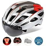 Basecamp Bike Helmet, Light Weight Bicycle Helmet Specialized Cycling Helmet with Removable Visor& Safety Light& Adjustable Liner for Men&Women (Gold Red)