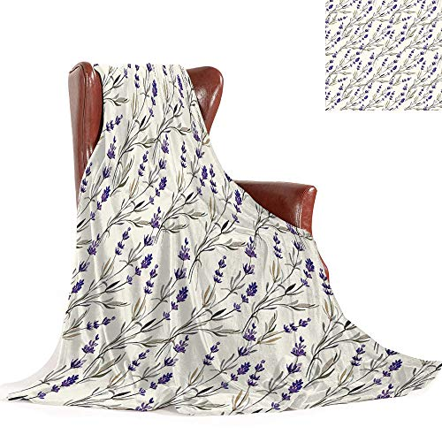 SATVSHOP Warm Microfiber All Season blanket-60 x36-Oversized Travel Throwing Blanket.Purple Lavender Paint Style Pattern French Fragrance Organic Herb Theme Country Cottage Violet Beige.