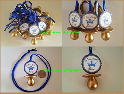 12 Prince Pacifier Necklace Its a Boy Baby Shower Favors Prize Games -