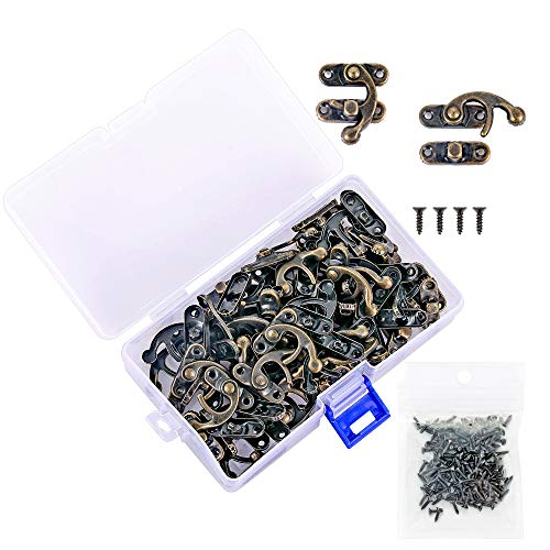 - PGMJ 40 Pieces Bronze Tone Antique Right Latch Hook Hasp Horn Lock Wood Jewelry Box Latch Hook Clasp and 160 Replacement Screws (Right Latch Buckle)