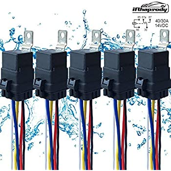51RtMOBy6pL._SL500_AC_SS350_ amazon com 5 pack 40 30 amp 12 v dc waterproof relay and harness