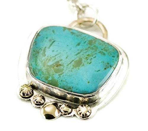 Kingman Turquoise Sterling and 14k Gold Necklace