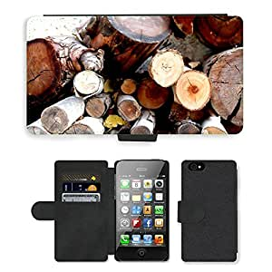 PU Cuir Flip Etui Portefeuille Coque Case Cover véritable Leather Housse Couvrir Couverture Fermeture Magnetique Silicone Support Carte Slots Protection Shell // M00153535 Pila de madera del fuego del invierno // Apple iPhone 4 4S 4G