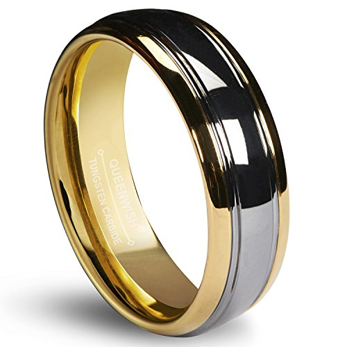 (Queenwish 6mm Tungsten Carbide Wedding Band Gold Silver Dome Promise Rings for Couples Size 6)