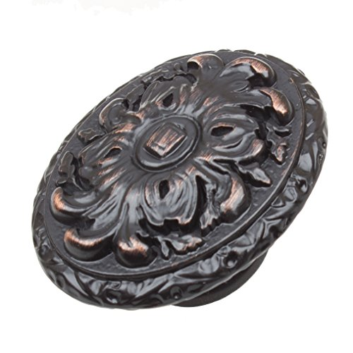 (GlideRite Hardware 5710-ORB-10 2 inch Old World Ornate Oil Rubbed Bronze Oval Cabinet Knobs 10 Pack, Finish)