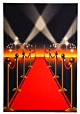 Photo Backdrop - Red Carpet Photo-Booth Background Hollywood Movie Night Themed, Red and White Photography Background for Studio, Wedding, Birthday Party, 5 x 7 Feet