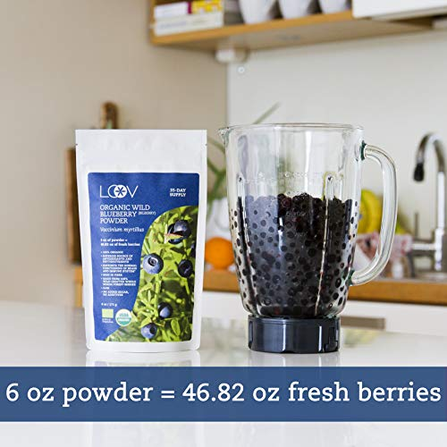 Organic Wild Blueberry Powder, wild-crafted from Nordic forests, 100% whole fruit blueberry, 35-day supply, 6 oz, freeze-dried and powdered wild blueberries, high in anthocyanins, free recipe book by LOOV (Image #3)