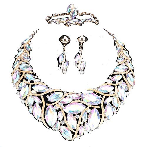 - WANG Bridal Costume Jewelry Sets Crystal Choker Necklace Earrings Ring Bracelet Set for Wedding Party Dress with Gift Box (AB)