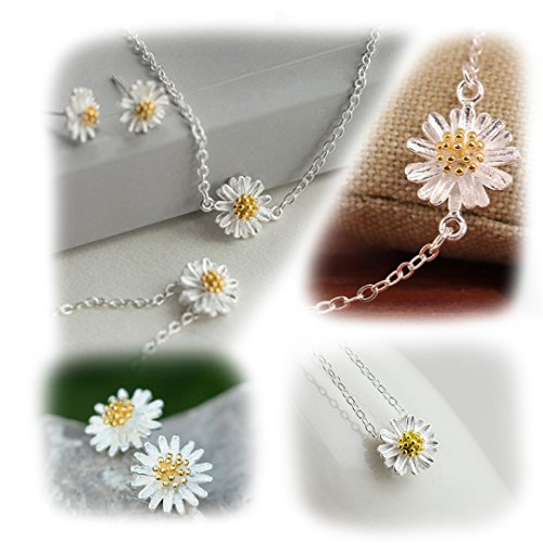 Naimo New Elegant Sterling Silver Daisy Flower Jewelry Set Necklace + Studs Earrings + Bracelet Chain