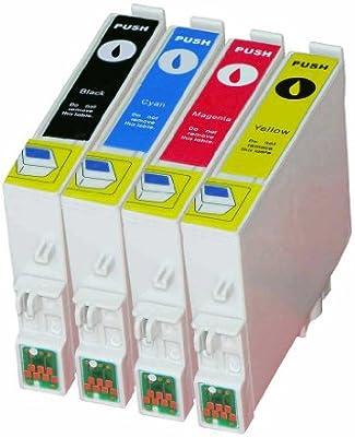 Premium Pack de 4 cartuchos de tinta para Epson (T de 0555) T de 0551, T