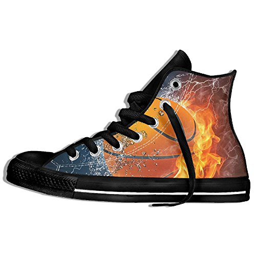 Classic High Top Sneakers Canvas Shoes Anti-Skid Cool Basketball Casual Walking For Men Women Black 6eyQfY