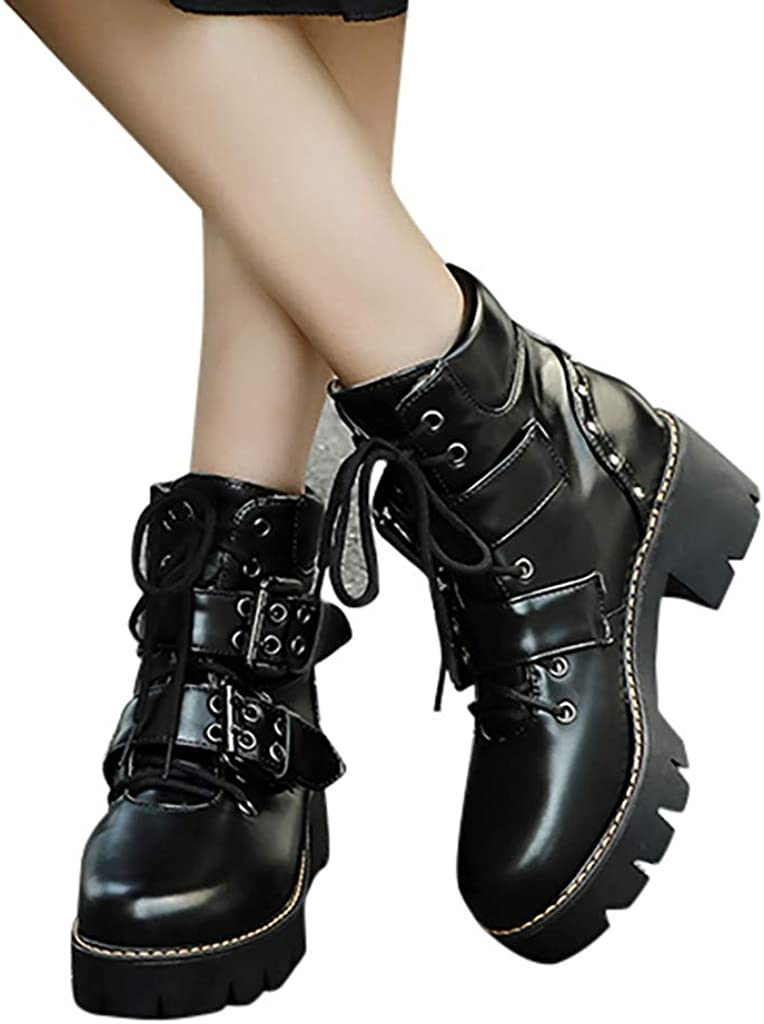 Padaleks Womens Boots Round Toe Lace Up Buckle Square Heels Vintage Punk Shoes Motorcycle Booties Cool Girls