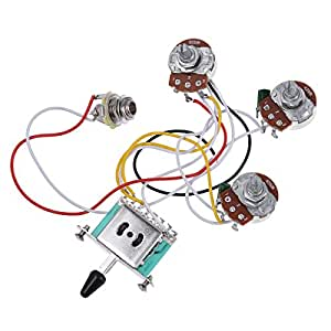 electric guitar wiring harness prewired kit 5 way toggle switch 250k 2t1v pots for. Black Bedroom Furniture Sets. Home Design Ideas